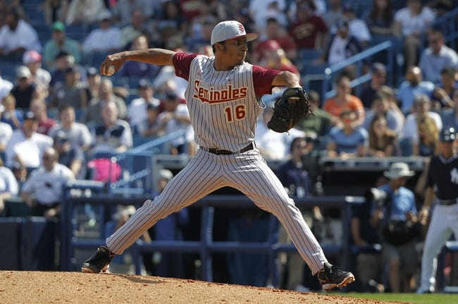 Feb 25, 2014; Tampa, FL, USA; Florida State Seminoles pitcher Taylor Blatch (16) throws a pitch during the fourth inning against the New York Yankees at George M. Steinbrenner Field. Mandatory Credit: Kim Klement-USA TODAY Sports