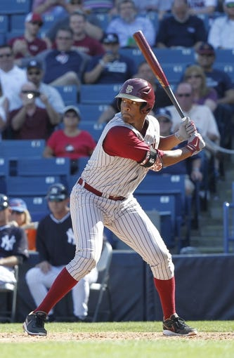 Feb 25, 2014; Tampa, FL, USA; Florida State Seminoles pitcher/outfielder Jameis Winston (44) at bat during the eighth inning against the New York Yankees at George M. Steinbrenner Field. Mandatory Credit: Kim Klement-USA TODAY Sports