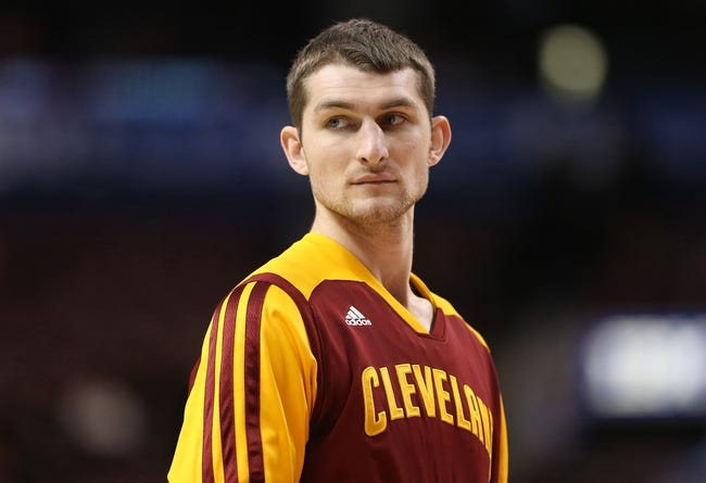 Feb 21, 2014; Toronto, Ontario, CAN; Cleveland Cavaliers forward Tyler Zeller (40) warms up before playing against the Toronto Raptors at Air Canada Centre. The Raptors beat the Cavaliers 98-91. Mandatory Credit: Tom Szczerbowski-USA TODAY Sports