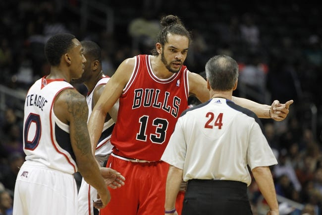 Feb 25, 2014; Atlanta, GA, USA; Chicago Bulls center Joakim Noah (13) talks to an official during the game against the Atlanta Hawks in the first quarter at Philips Arena. Mandatory Credit: Brett Davis-USA TODAY Sports