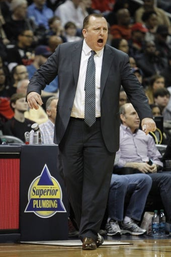 Feb 25, 2014; Atlanta, GA, USA; Chicago Bulls head coach Tom Thibodeau against the Atlanta Hawks in the second quarter at Philips Arena. Mandatory Credit: Brett Davis-USA TODAY Sports
