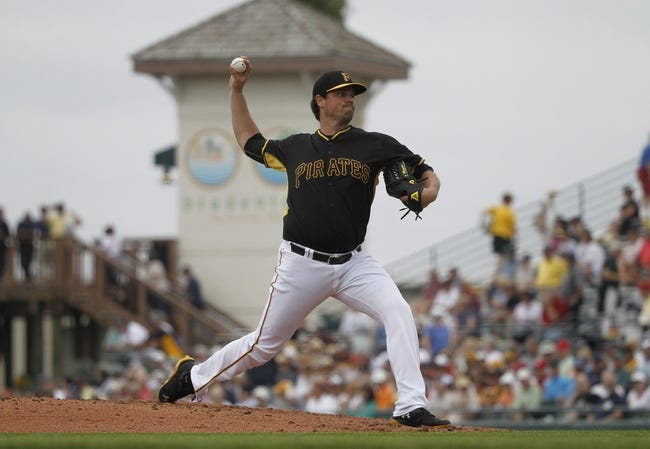Feb 26, 2014; Bradenton, FL, USA; Pittsburgh Pirates relief pitcher Vin Mazzaro (32) throws a pitch during the fourth inning against the Pittsburgh Pirates at McKechnie Field. Mandatory Credit: Kim Klement-USA TODAY Sports