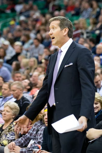 Feb 26, 2014; Salt Lake City, UT, USA; Phoenix Suns head coach Jeff Hornacek reacts during the second half against the Utah Jazz at EnergySolutions Arena. The Jazz won 109-86. Mandatory Credit: Russ Isabella-USA TODAY Sports