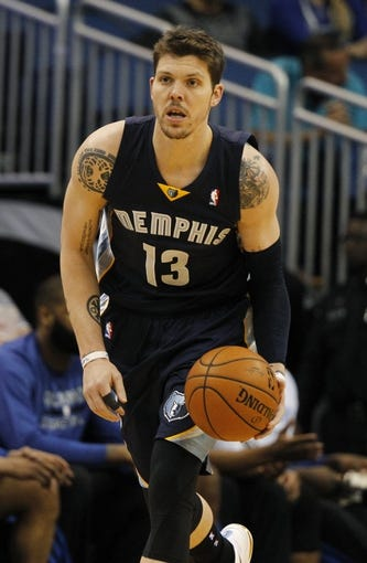 Feb 12, 2014; Orlando, FL, USA; Memphis Grizzlies small forward Mike Miller (13) against the Orlando Magic during the first quarter at Amway Center. Mandatory Credit: Kim Klement-USA TODAY Sports