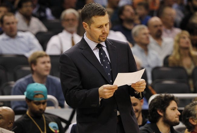 Feb 12, 2014; Orlando, FL, USA; Memphis Grizzlies head coach David Joerger against the Orlando Magic during the second quarter at Amway Center. Mandatory Credit: Kim Klement-USA TODAY Sports