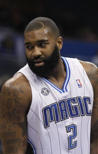 Feb 12, 2014; Orlando, FL, USA; Orlando Magic power forward Kyle O'Quinn (2) against the Memphis Grizzlies during the second half at Amway Center. Memphis Grizzlies defeated the Orlando Magic 86-81. Mandatory Credit: Kim Klement-USA TODAY Sports