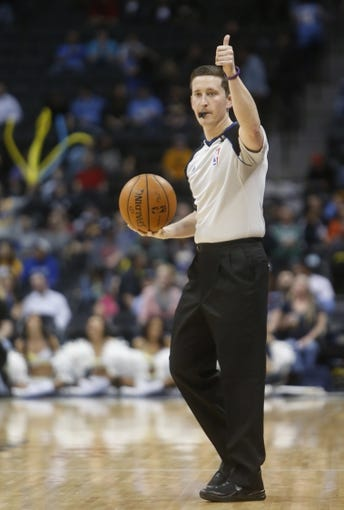 Feb 27, 2014; Denver, CO, USA; NBA referee Leroy Richardson during the second half between the Denver Nuggets and the Brooklyn Nets at Pepsi Center.  The Nets won 112-89.  Mandatory Credit: Chris Humphreys-USA TODAY Sports