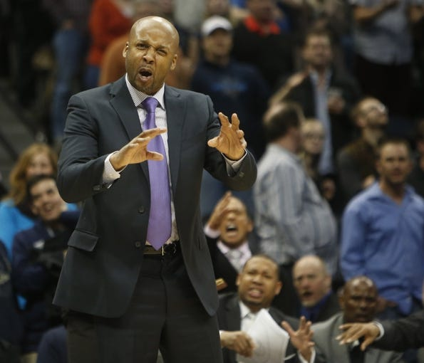 Feb 27, 2014; Denver, CO, USA; Denver Nuggets head coach Brian Shaw reacts during the first half against the Brooklyn Nets at Pepsi Center. Mandatory Credit: Chris Humphreys-USA TODAY Sports