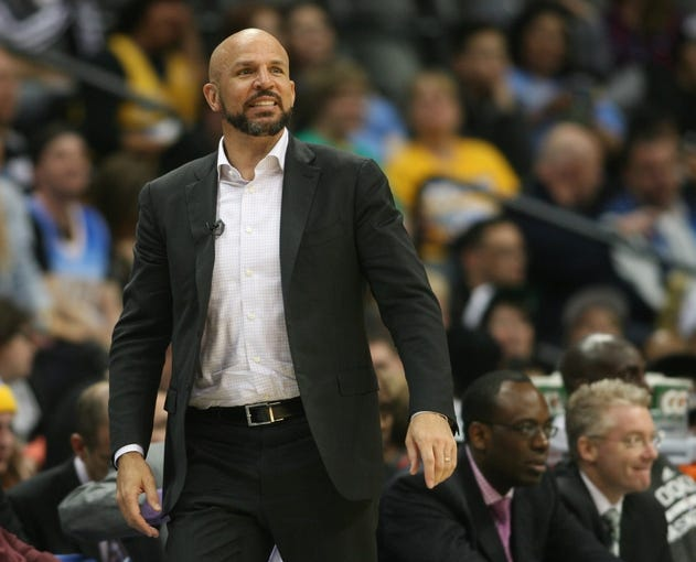 Feb 27, 2014; Denver, CO, USA; Brooklyn Nets head coach Jason Kidd during the second half against the Denver Nuggets at Pepsi Center.  The Nets won 112-89.  Mandatory Credit: Chris Humphreys-USA TODAY Sports