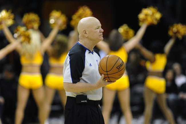 Feb 28, 2014; Cleveland, OH, USA; Referee Joe Crawford (17) waits to start the game between the Cleveland Cavaliers and the Utah Jazz at Quicken Loans Arena. Mandatory Credit: Ken Blaze-USA TODAY Sports