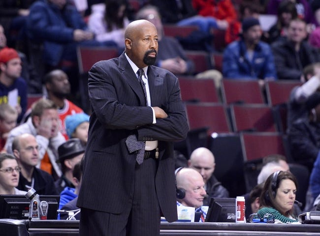 Mar 2, 2014; Chicago, IL, USA; New York Knicks head coach Mike Woodson during the first half at the United Center. Mandatory Credit: Mike DiNovo-USA TODAY Sports