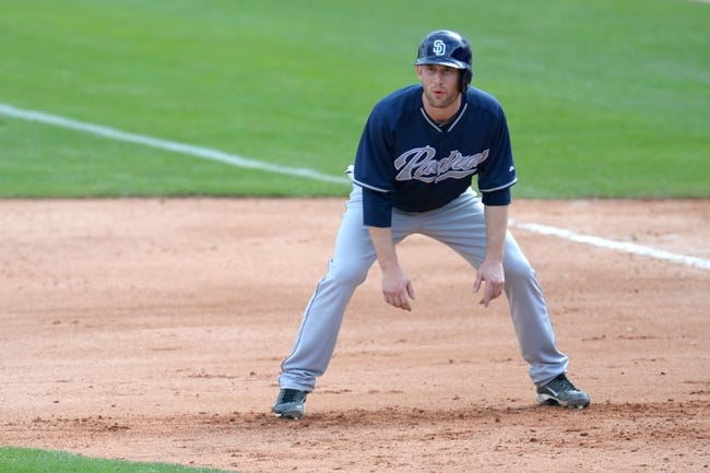 Mar 2, 2014; Phoenix, AZ, USA; San Diego Padres catcher Rocky Gale (83) leads off of first base against the Los Angeles Dodgers in the eighth inning at Camelback Ranch. Mandatory Credit: Joe Camporeale-USA TODAY Sports
