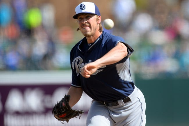 Mar 2, 2014; Phoenix, AZ, USA; San Diego Padres relief pitcher Patrick Schuster (57) pitches against the Los Angeles Dodgers in the sixth inning at Camelback Ranch. Mandatory Credit: Joe Camporeale-USA TODAY Sports