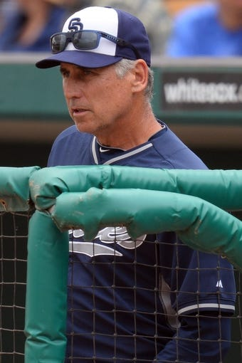 Mar 2, 2014; Phoenix, AZ, USA; San Diego Padres manager Bud Black (20) looks on from the dugout against the Los Angeles Dodgers at Camelback Ranch. Mandatory Credit: Joe Camporeale-USA TODAY Sports