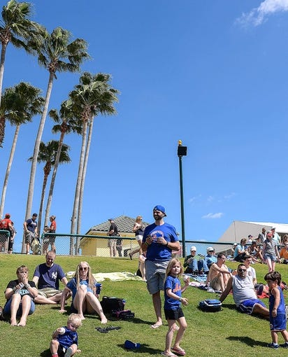 Mar 3, 2014; Lake Buena Vista, FL, USA; Fans get ready for the start of the spring training exhibition game between the New Yorks Mets and Atlanta Braves at Champion Stadium. Mandatory Credit: Jonathan Dyer-USA TODAY Sports