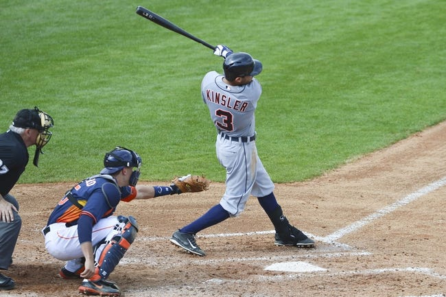 Mar 5, 2014; Kissimmee, FL, USA;  Detroit Tigers second baseman Ian Kinsler (3) hits a rbi-single during the fourth inning against the Houston Astros at Osceola County Stadium. Mandatory Credit: Tommy Gilligan-USA TODAY Sports