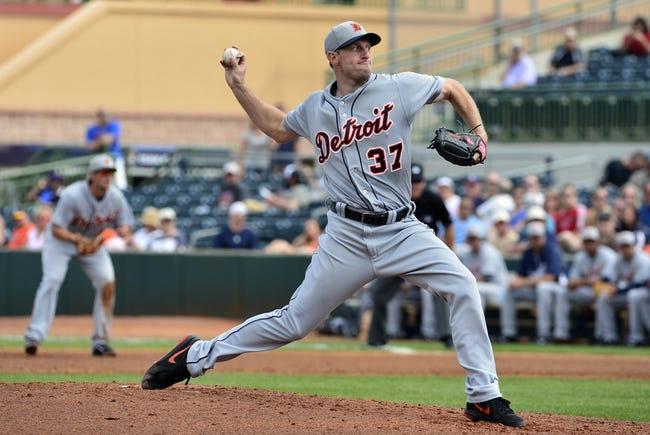 Mar 5, 2014; Kissimmee, FL, USA; Detroit Tigers starting pitcher Max Scherzer (37) pitches during the first inning against the Houston Astros  at Osceola County Stadium. Mandatory Credit: Tommy Gilligan-USA TODAY Sports