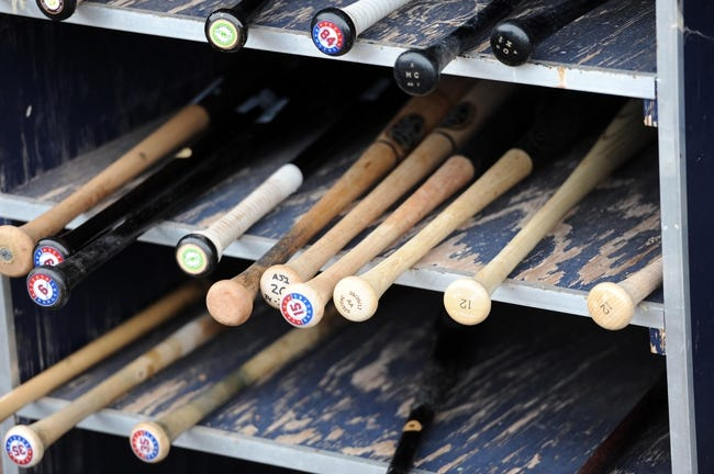 Mar 6, 2014; Peoria, AZ, USA; Texas Rangers bats sit in the dugout area against the San Diego Padres at Peoria Sports Complex. The Rangers won 8-4. Mandatory Credit: Joe Camporeale-USA TODAY Sports