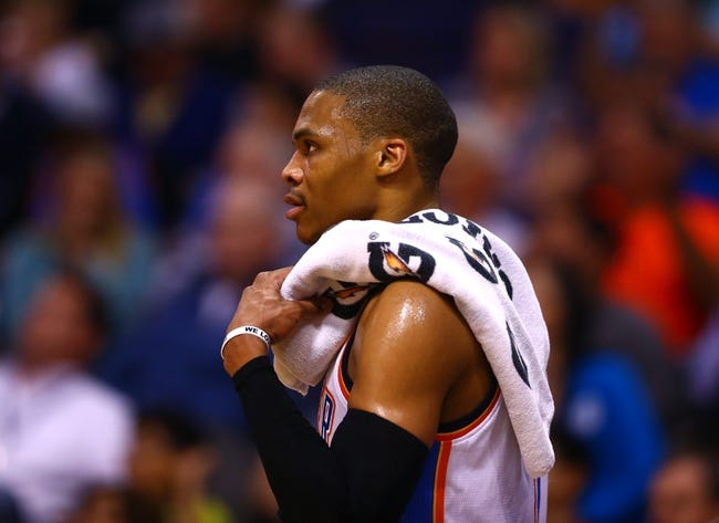 Mar 6, 2014; Phoenix, AZ, USA; Oklahoma City Thunder guard Russell Westbrook in the second quarter against the Phoenix Suns at the US Airways Center. Mandatory Credit: Mark J. Rebilas-USA TODAY Sports