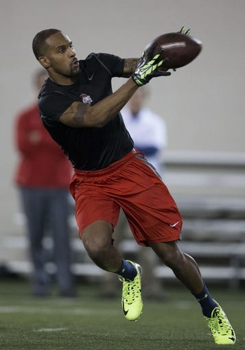 "Mar 7, 2014; Columbus, OH, USA; Ohio State Buckeyes wide receiver Corey ""Philly"" Brown works out in front of NFL scouts on pro day  at The Woody Hayes Athletic Center. Mandatory Credit: Greg Bartram-USA TODAY Sports"