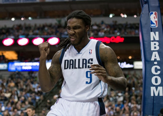 Mar 7, 2014; Dallas, TX, USA; Dallas Mavericks small forward Jae Crowder (9) reacts after being fouled during the first half against the Portland Trail Blazers at the American Airlines Center. Mandatory Credit: Jerome Miron-USA TODAY Sports
