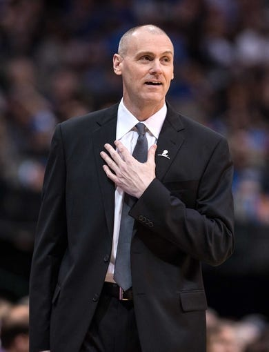 Mar 7, 2014; Dallas, TX, USA; Dallas Mavericks head coach Rick Carlisle reacts to a referee call during the first half of the game against the Portland Trail Blazers at the American Airlines Center. The Mavericks defeated the Trail Blazers 103-98. Mandatory Credit: Jerome Miron-USA TODAY Sports