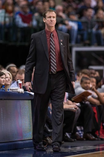 Mar 7, 2014; Dallas, TX, USA; Portland Trail Blazers head coach Terry Stotts watches his team take on the Dallas Mavericks during the second half at the American Airlines Center. The Mavericks defeated the Trail Blazers 103-98. Mandatory Credit: Jerome Miron-USA TODAY Sports