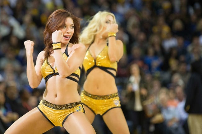 Mar 7, 2014; Oakland, CA, USA; Golden State Warriors dancers perform during a timeout against the Atlanta Hawks during the second quarter at Oracle Arena. Mandatory Credit: Kelley L Cox-USA TODAY Sports