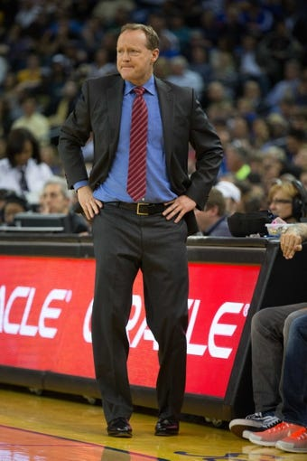 Mar 7, 2014; Oakland, CA, USA; Atlanta Hawks head coach Mike Budenholzer on the sideline against the Golden State Warriors during the second quarter at Oracle Arena. Mandatory Credit: Kelley L Cox-USA TODAY Sports