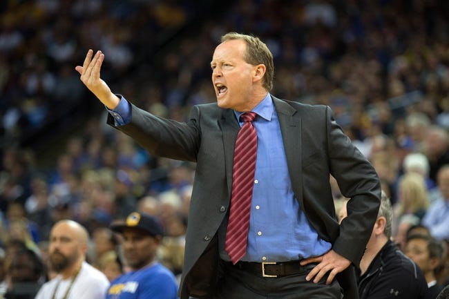Mar 7, 2014; Oakland, CA, USA; Atlanta Hawks head coach Mike Budenholzer calls out to his players against the Golden State Warriors during the third quarter at Oracle Arena. The Golden State Warriors defeated the Atlanta Hawks 111-97. Mandatory Credit: Kelley L Cox-USA TODAY Sports