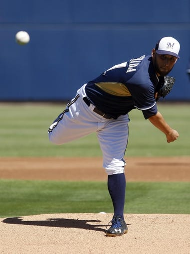 Mar 8, 2014; Phoenix, AZ, USA; Milwaukee Brewers starting pitcher Marco Estrada (41) throws against the Kansas City Royals in the first inning at Maryvale Baseball Park. Mandatory Credit: Rick Scuteri-USA TODAY Sports