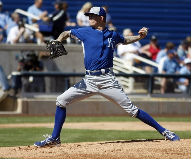 Mar 8, 2014; Phoenix, AZ, USA; Kansas City Royals starting pitcher John Lamb (38) throws against the Milwaukee Brewers in the first inning at Maryvale Baseball Park. Mandatory Credit: Rick Scuteri-USA TODAY Sports