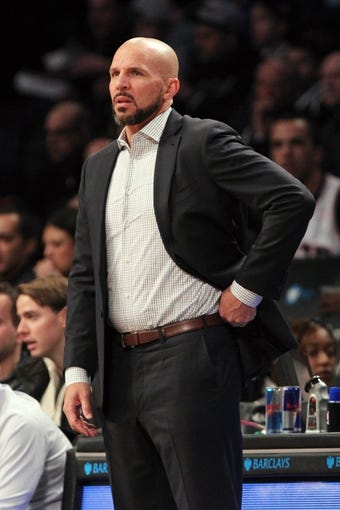 Mar 9, 2014; Brooklyn, NY, USA; Brooklyn Nets head coach Jason Kidd during the first quarter against the Sacramento Kings at Barclays Center. Mandatory Credit: Anthony Gruppuso-USA TODAY Sports