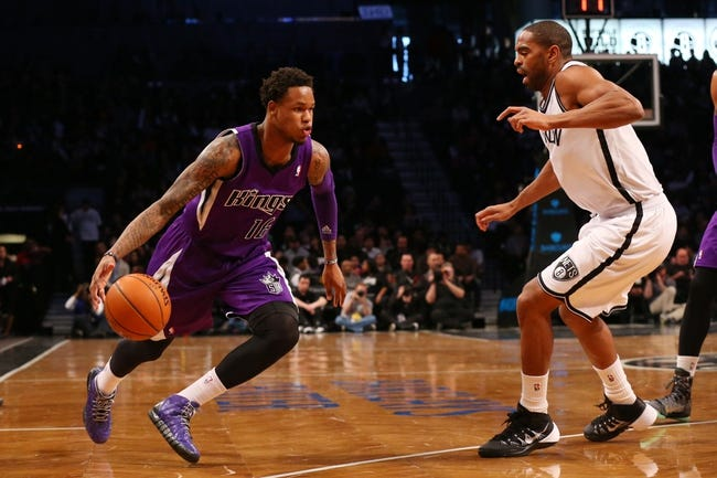 Mar 9, 2014; Brooklyn, NY, USA;  Sacramento Kings shooting guard Ben McLemore (16) drives in from the outside during the second quarter against the Brooklyn Nets at Barclays Center. Mandatory Credit: Anthony Gruppuso-USA TODAY Sports