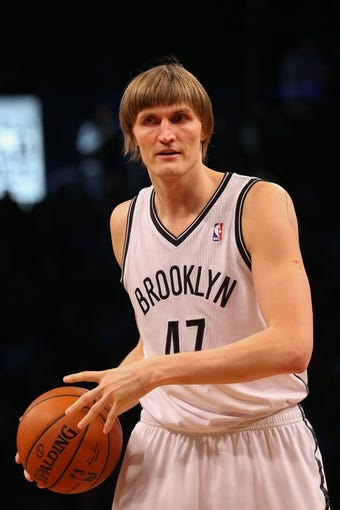 Mar 9, 2014; Brooklyn, NY, USA;  Brooklyn Nets small forward Andrei Kirilenko (47) during the third quarter against the Sacramento Kings at Barclays Center. Brooklyn Nets won 104-89.  Mandatory Credit: Anthony Gruppuso-USA TODAY Sports