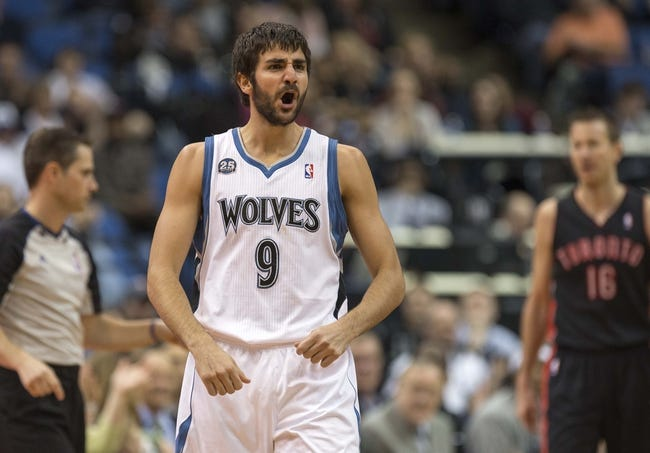 Mar 9, 2014; Minneapolis, MN, USA; Minnesota Timberwolves point guard Ricky Rubio (9) reacts after a foul call in the second half against the Toronto Raptors at Target Center. The Raptors won 111-104. Mandatory Credit: Jesse Johnson-USA TODAY Sports