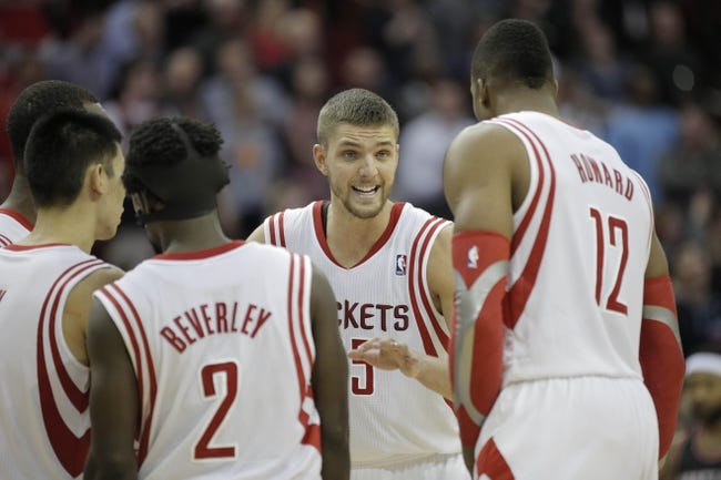 Mar 9, 2014; Houston, TX, USA; Houston Rockets small forward Chandler Parsons (25) speaks to his team during the fourth quarter against the Portland Trail Blazers at Toyota Center. Mandatory Credit: Andrew Richardson-USA TODAY Sports