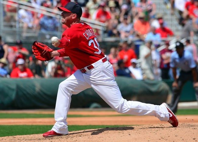 Mar 11, 2014; Jupiter, FL, USA; St. Louis Cardinals relief pitcher Randy Choate (36) delivers a pitch against the New York Mets at Roger Dean Stadium. The Mets defeated the Cardinals 9-8. Mandatory Credit: Scott Rovak-USA TODAY Sports