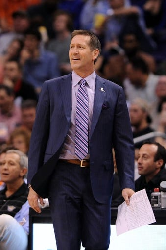 Mar 12, 2014; Phoenix, AZ, USA; Phoenix Suns head coach Jeff Hornacek reacts on the sidelines against the Cleveland Cavaliers at US Airways Center. The Cavaliers won 110-101.  Mandatory Credit: Jennifer Stewart-USA TODAY Sports
