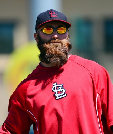 Mar 13, 2014; Jupiter, FL, USA; St. Louis Cardinals relief pitcher Jason Motte (30) during the game against the Atlanta Braves at Roger Dean Stadium. The Cardinals defeated the Braves 11-0. Mandatory Credit: Scott Rovak-USA TODAY Sports