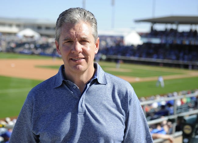 Mar 15, 2014; Surprise, AZ, USA; Sports agent Casey Close during the Kansas City Royals spring training game against the Chicago Cubs at Surprise Stadium. Mandatory Credit: Christopher Hanewinckel-USA TODAY Sports