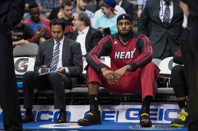 Feb 18, 2014; Dallas, TX, USA; Miami Heat head coach Erik Spoelstra and small forward LeBron James (6) before the game against the Dallas Mavericks at the American Airlines Center. The Heat defeated the Mavericks  117-106. Mandatory Credit: Jerome Miron-USA TODAY Sports