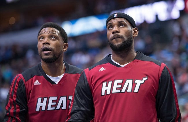 Feb 18, 2014; Dallas, TX, USA; Miami Heat small forward LeBron James (6) warms up before the game against the Dallas Mavericks at the American Airlines Center. The Heat defeated the Mavericks  117-106. Mandatory Credit: Jerome Miron-USA TODAY Sports
