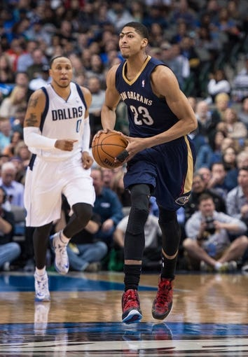 Feb 26, 2014; Dallas, TX, USA; New Orleans Pelicans power forward Anthony Davis (23) during the game against the Dallas Mavericks at the American Airlines Center. The Mavericks defeated the Pelicans 108-89. Mandatory Credit: Jerome Miron-USA TODAY Sports