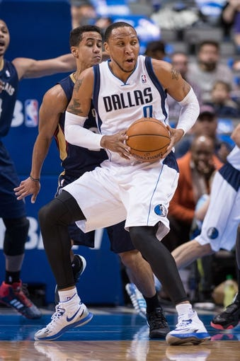 Feb 26, 2014; Dallas, TX, USA; Dallas Mavericks small forward Shawn Marion (0) during the game against the New Orleans Pelicans at the American Airlines Center. The Mavericks defeated the Pelicans 108-89. Mandatory Credit: Jerome Miron-USA TODAY Sports