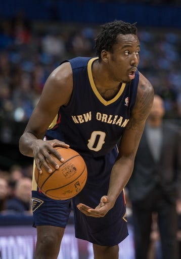 Feb 26, 2014; Dallas, TX, USA; New Orleans Pelicans small forward Al-Farouq Aminu (0) during the game against the Dallas Mavericks at the American Airlines Center. The Mavericks defeated the Pelicans 108-89. Mandatory Credit: Jerome Miron-USA TODAY Sports