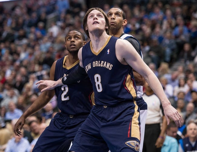 Feb 26, 2014; Dallas, TX, USA; New Orleans Pelicans small forward Luke Babbitt (8) during the game against the Dallas Mavericks at the American Airlines Center. The Mavericks defeated the Pelicans 108-89. Mandatory Credit: Jerome Miron-USA TODAY Sports