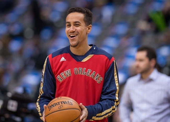 Feb 26, 2014; Dallas, TX, USA; New Orleans Pelicans point guard Brian Roberts (22) during warmups before the game against the Dallas Mavericks at the American Airlines Center. The Mavericks defeated the Pelicans 108-89. Mandatory Credit: Jerome Miron-USA TODAY Sports