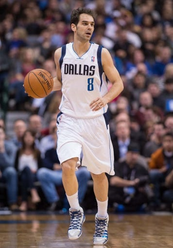 Feb 26, 2014; Dallas, TX, USA; Dallas Mavericks point guard Jose Calderon (8) during the game against the New Orleans Pelicans at the American Airlines Center. The Mavericks defeated the Pelicans 108-89. Mandatory Credit: Jerome Miron-USA TODAY Sports