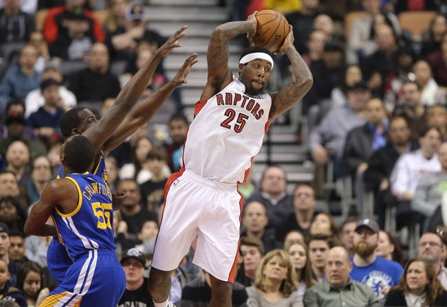 Mar 2, 2014; Toronto, Ontario, CAN; Toronto Raptors forward John Salmons (25) looks to pass the ball against the Golden State Warriors at Air Canada Centre. The Raptors beat the Warriors 104-98. Mandatory Credit: Tom Szczerbowski-USA TODAY Sports